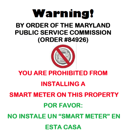 Do Not Install Smart Meter Warning Sign in Spanish and English